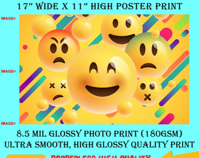 11x17 Poster Photo Print Art EMOJI COLLAGE Fun Poster (Landscape Orientation) High Quality Glossy Smooth Photo Print