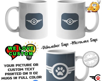 6X MUGS - Your Logo or Custom Personalized Coffee Mugs, Your photo, image or text printed on a 11 or 15 oz White Mug