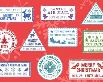 VALUE - 10 Fun Christmas North Pole Mail Stamp Stickers AND 11 Square Christmas Stamps  for Santa Claus gifts and Christmas Cards