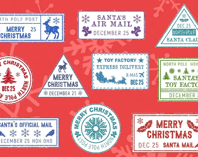 Fun Christmas North Pole Mail Stamp Sticker for Santa Claus gifts - Sheet of 10 each different from  2x2 to 3x2, varying sizes