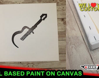 Guitar Music minimalistic oil based paint line art on archival acid free acrylic gesso primed canvas for high quality modern art