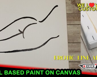 2 Unique Erotic Line Arts, minimalistic oil based paint line art on archival acid free acrylic gesso primed canvas modern art