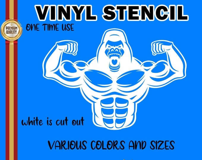 """Gorilla or Ape Muscle Builder 11""""  stencil for diy projects.  Airbrush, wood, painting  cut into our vinyl stencil up to11"""" - single use."""