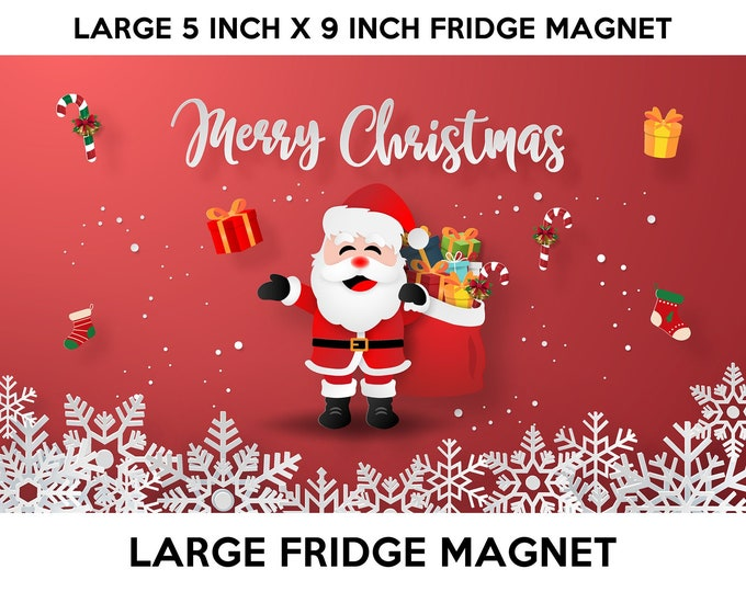 Christmas fridge magnet, large 5x9 inch premium fridge magnet that stands out this holiday season