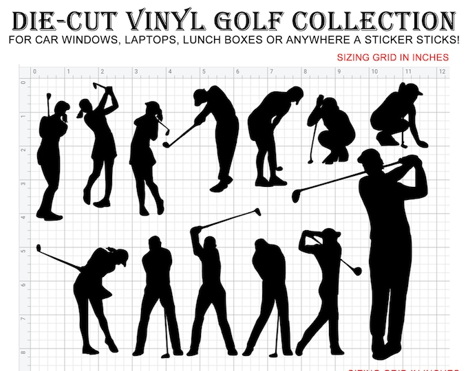 13 Golf Vinyl die-cut decals in different colors even chrome see image for sizing and contact for sizes not shown