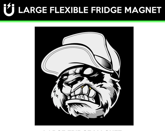 Angry Bear large fridge magnet, large 6 1/2 x 6 1/2 inch premium fridge magnet that stands out.