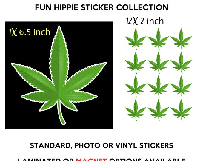 "13 HIPPIE FUN stickers 1X 6.5""/+ 12x 2"" in standard, photo or vinyl print materials with laminate or magnet options Premium full color."