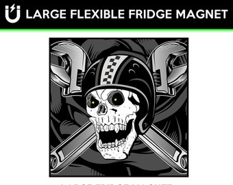 Skull and Wrenches large fridge magnet, large 6 1/2 x 6 1/2 inch premium fridge magnet that stands out.