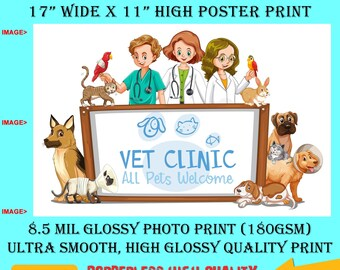 11x17 Poster Photo Print Art VET CLINIC Fun Poster (Landscape Orientation) High Quality Glossy Smooth Photo Print