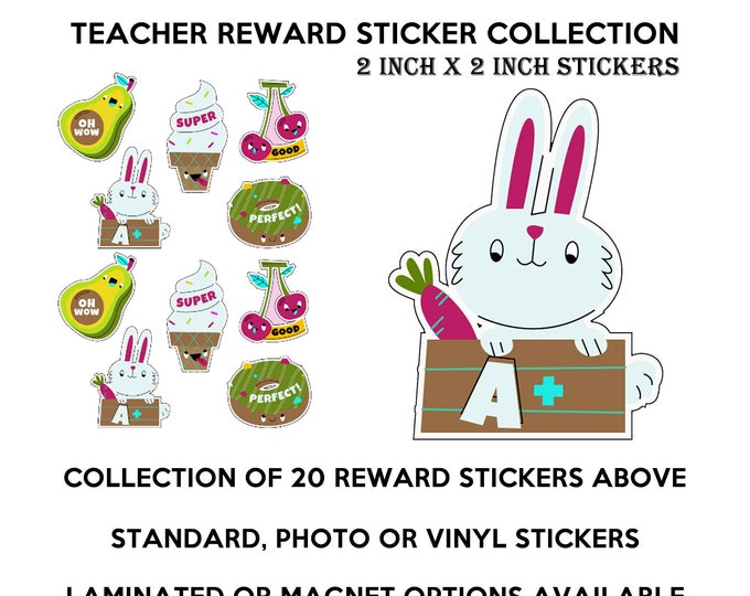 20 teacher reward fun stickers in standard, photo or vinyl print materials with laminate or magnet options available.  Premium full color.