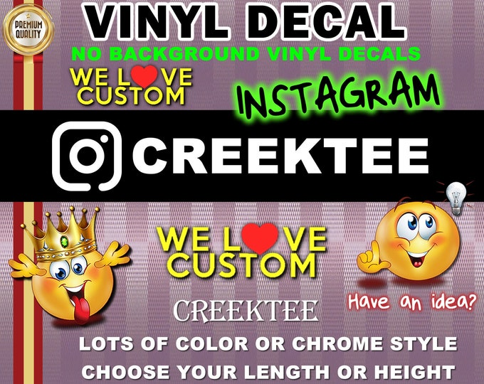 Instagram Vinyl Decal with Channel Name lots of colors, chrome vinyl and more, no background, die-cut various sizes or customize