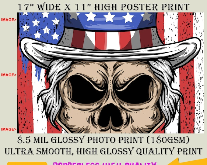 11x17 Poster Photo Print Art UNCLE SAM SKULL Fun Poster (Landscape Orientation) High Quality Glossy Smooth Photo Print