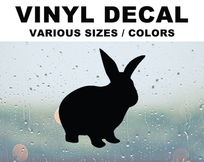 Rabbit Silhouette Vinyl Decal Various Sizes and Colors Die Cut Vinyl Decal also in Cool Chrome Colors!