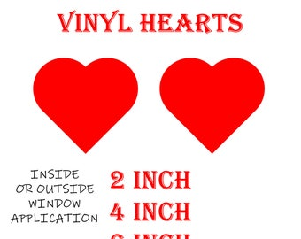 Vinyl Decal Hearts in various colors plus Chrome High Quality Cars, Trucks, Vans, Windows, Boats, Mailboxes various sizes and qtys.