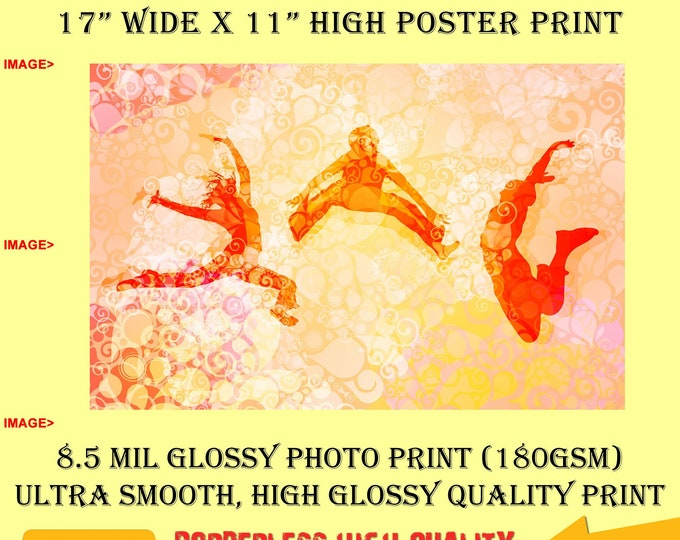 11x17 Poster Photo Print Art Dance, Fitness, Sport Fun Poster (Landscape Orientation) High Quality Glossy Smooth Photo Print