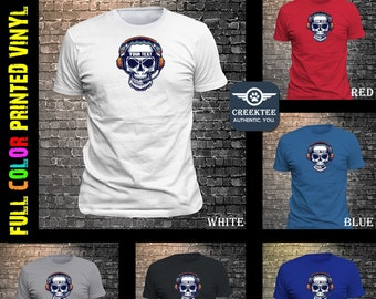 SKULL with custom TEXT T-Shirt or your own PHOTO print on vinyl t-shirt customize your tee today and get ready for the warm weather