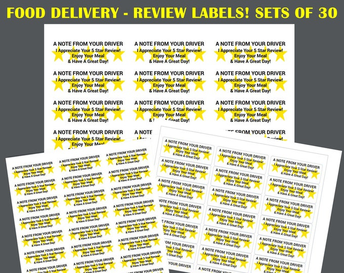 "60, 150, 300, 450+ Skip The Dishes, Uber Eats, Door Dash Review Labels 1"" x 2-5/8"" 30up per sheet"