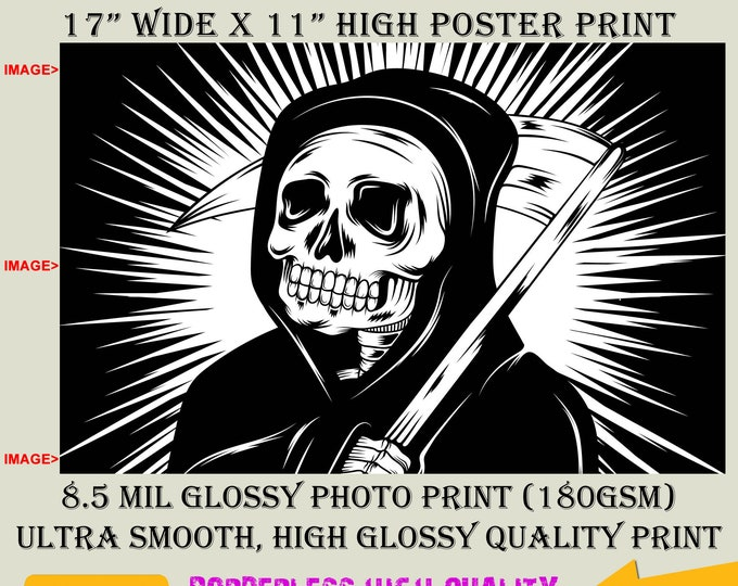 11x17 Poster Photo Print Art GRIM REAPER Fun Poster (Landscape Orientation) High Quality Glossy Smooth Photo Print