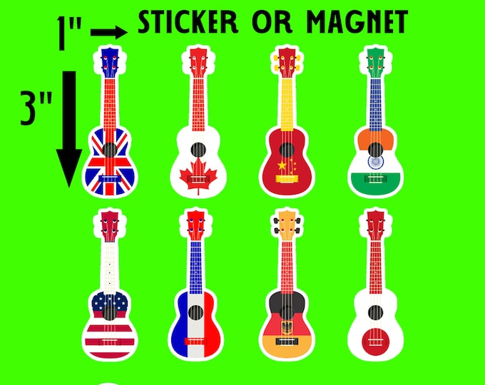 "8 Guitar stickers 1""w x 3""h each in standard, photo or vinyl print materials with laminate or magnet options available.  Premium full color."