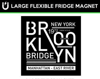 Brooklyn Bridge fridge magnet, large 6 1/2 x 6 1/2 inch premium fridge magnet that stands out.
