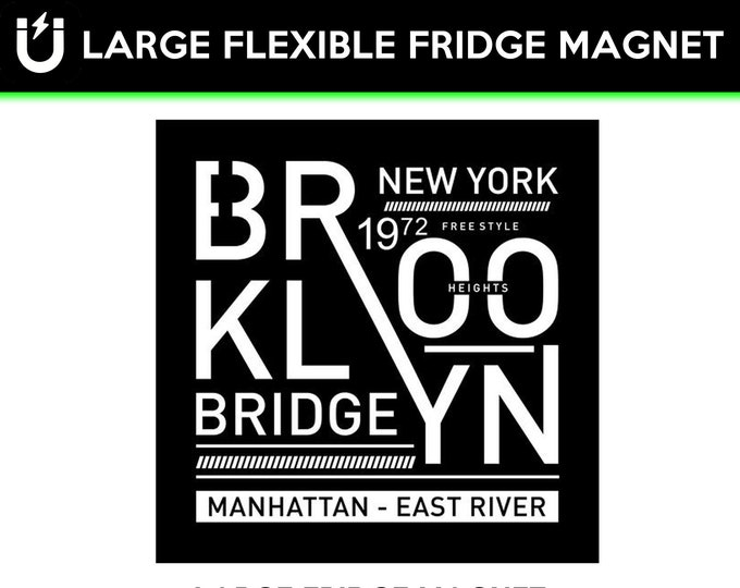 Brooklyn Bridge fridge magnet, large 6 1/2 x 6 1/2 inch premium fridge magnet that stands out.