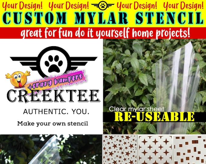 "7 mil MYLAR Custom TEXT or IMAGE stencil for diy projects.  Airbrush, wood, painting your custom text cut into mylar to 12"" x 12"""