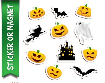 11 Halloween Planner, Laptop, Book stickers in standard, photo or vinyl print materials with laminate or magnet options available.  Premium.