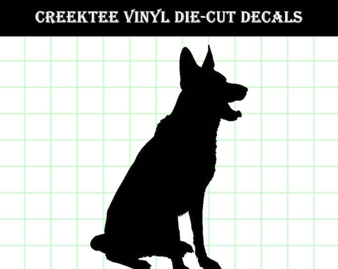 German Shepard Sitting Die Cut Dog vinyl decal - Dog Decal