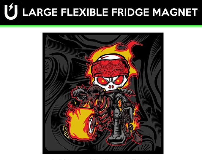 Skull and flames large fridge magnet, large 6 1/2 x 6 1/2 inch premium fridge magnet that stands out.