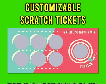 """Custom Text Fun Scratch Tickets 6"""" x 3"""" Laminated, 2, 5, 10, 20 options available."""