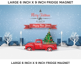 Christmas fridge magnet, large 6x9 inch premium fridge magnet that stands out this holiday season