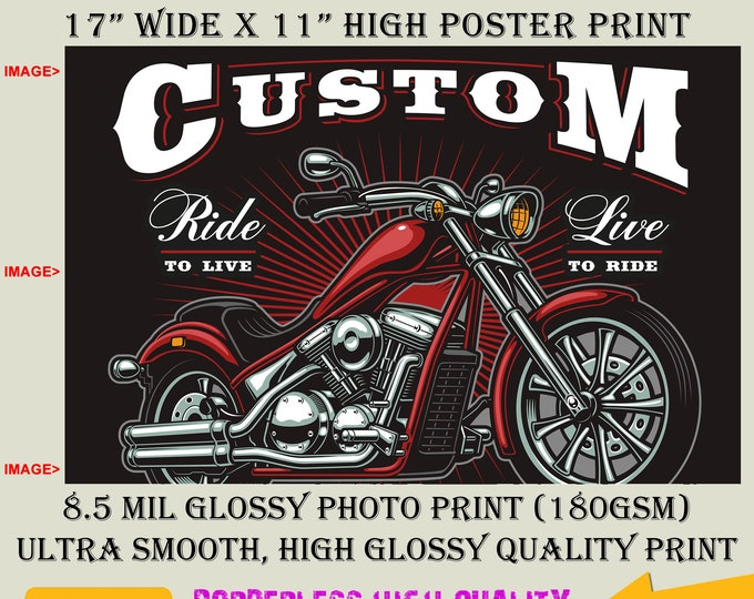 11x17 Poster Photo Print Art CUSTOM MOTORCYCLE Fun Poster (Landscape Orientation) High Quality Glossy Smooth Photo Print
