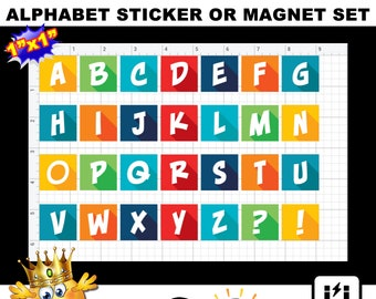 "Alphabet Sticker or Magnet Set in 1"" x 1"" squares,  , photo, vinyl, laminate, magnet or stickers.  Larger sizes available"