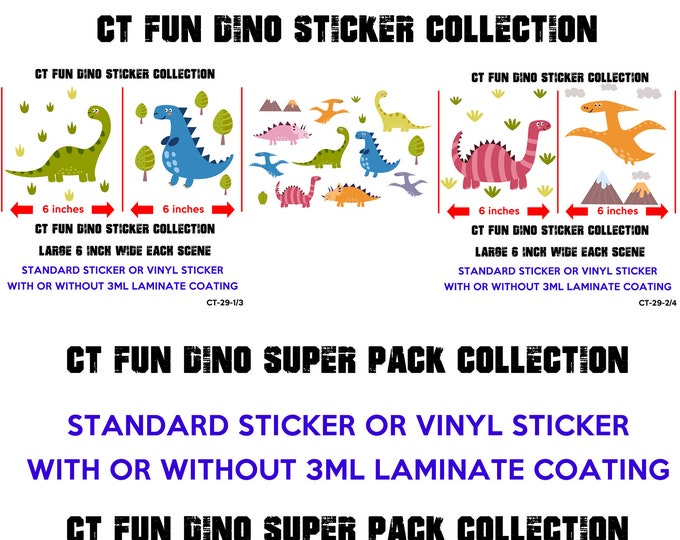 Super pack of Dinosaurs Stickers glossy or vinyl stickers with or without laminate coating, fun dinosaurs stickers for walls, laptops, books