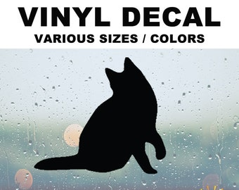 Cat Silhouette Vinyl Decal Various Sizes and Colors Die Cut Vinyl Decal also in Cool Chrome Colors!