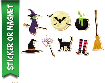 8 Halloween Planner, Laptop, Book stickers in standard, photo or vinyl print materials with laminate or magnet options available.  Premium.