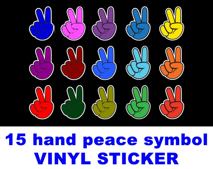 """15 peace symbol hand gesture mulit-color Magnet or Sticker 2"""" high each UV protected laminate coating or magnet options available.  Premium."""