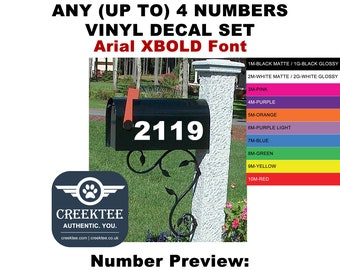 Mailbox Address Number Stickers - Up to 4 Numbers Arial XBOLD Font - High Quality Vinyl Decal