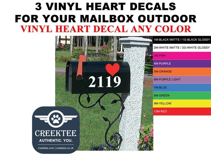 3x Vinyl Heart Decals outdoor vinyl for Mailbox Stickers - High Quality Vinyl Decal