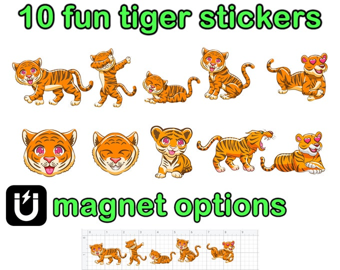 10 Fun Tiger stickers in standard, photo or vinyl print materials with laminate or magnet options available.  Premium full color.