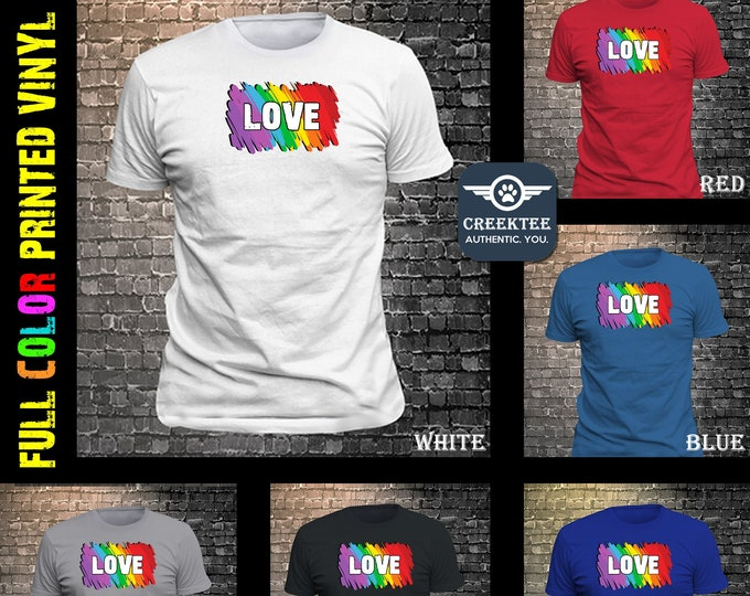 Rainbow Love with custom TEXT T-Shirt or your own PHOTO print on vinyl t-shirt customize your tee