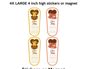4x fun i love you animal stickers in standard, photo or vinyl print materials with laminate or magnet options available.  Premium full color