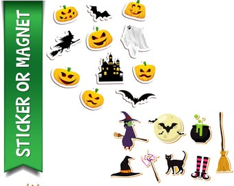 19 Halloween Planner, Laptop, Book stickers in standard, photo or vinyl print materials with laminate or magnet options available.  Premium.