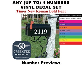 Mailbox Address Number Stickers - Up to 4 Numbers TIMES NEW ROMAN Font - High Quality Vinyl Decal