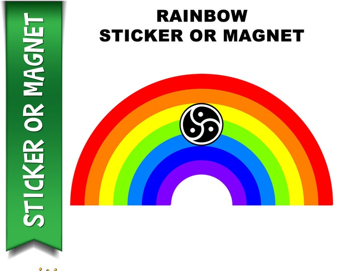 """Rainbow Pride with BDSM Lifestyle Symbol Vinyl Sticker with UV Laminate or MAGNET in various sizes up to 8"""""""