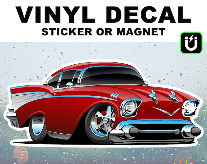 """Hot Rod Vinyl Sticker or Magnet in Various Sizes up to 9"""" wide with UV Rubberized Laminate Coating"""