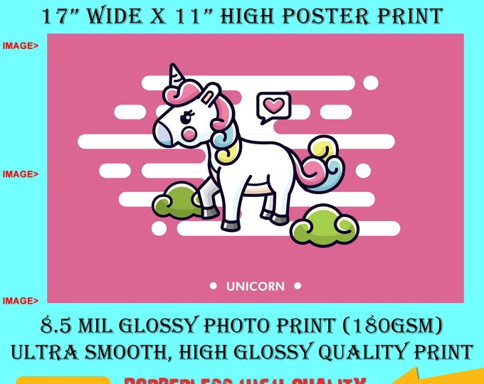 11x17 Poster Photo Print Art Unicorn Fun Poster (Landscape Orientation) High Quality Glossy Smooth Photo Print