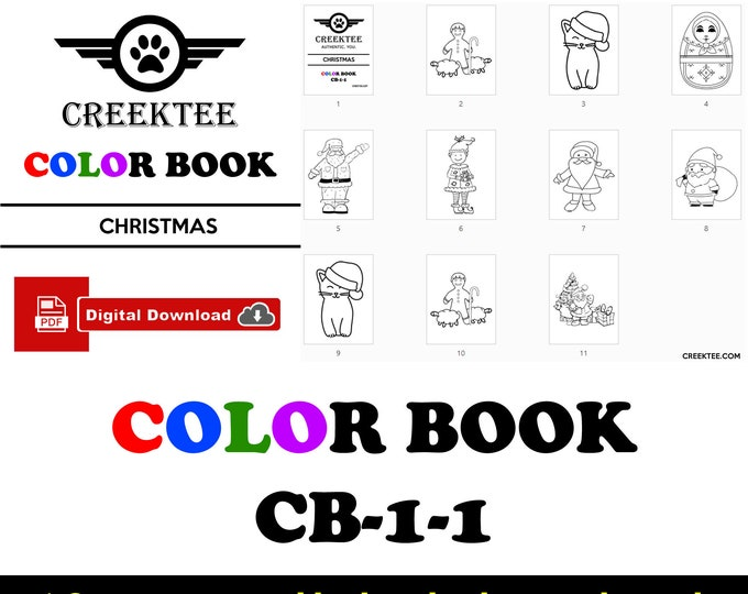 Digital Christmas Coloring Book for kids and children, 10 - 8 1/2 inch wide sheets you can color, download now