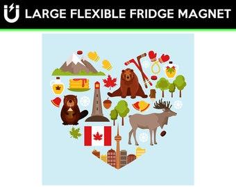 Love Canada Symbols fridge magnet 6.5 inch x 6.5 inch premium large magnet