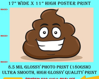 11x17 Poster Photo Print Art POO EMOJI Fun Poster (Landscape Orientation) High Quality Glossy Smooth Photo Print